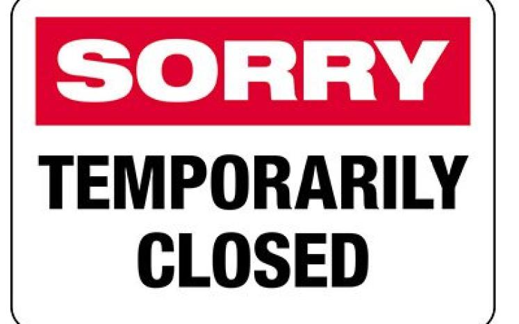 Sorry Temporary Closed Sign
